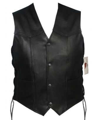 Mens Motorcycle Genuine Leather Side Laced Vest