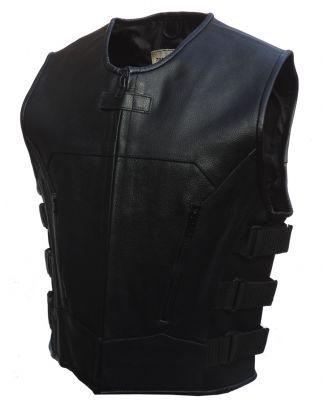 Mens Motorcycle SWAT Style Tactical Motorbike Leather Waistcoat Vest