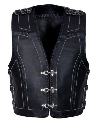 Mens Motorcycle Leather Vest 333 with 15 Buckles on sides and shoulder