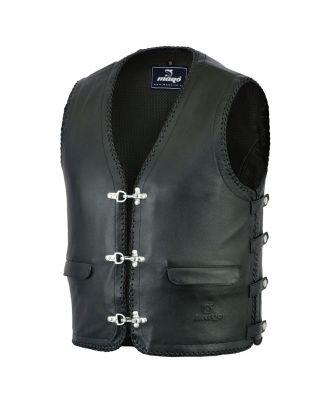 Mens Motorcycle Full Leather Lining Fishhook Motorcycle Vest