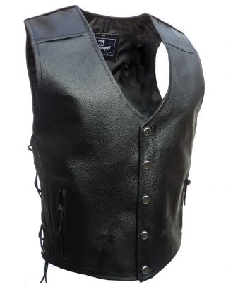 Mens Motorcycle Leather poppers Buttons Waistcoat Bikers Vest