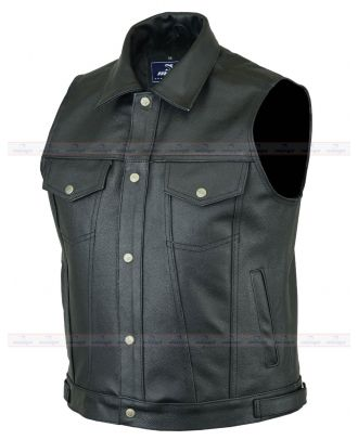 Mens Motorcycle Genuine Leather Classic Trucker Vest Waistcoat