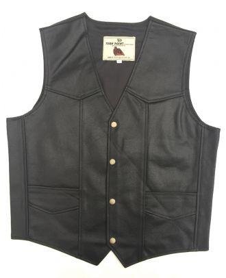 Mens Motorcycle Eagle Embossed Bikers Classic Leather Waistcoat Vest